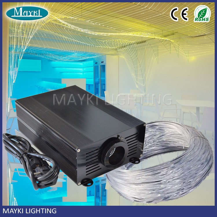 Club decorating usage celing fan with light fiber optic cable, optical LED light engine