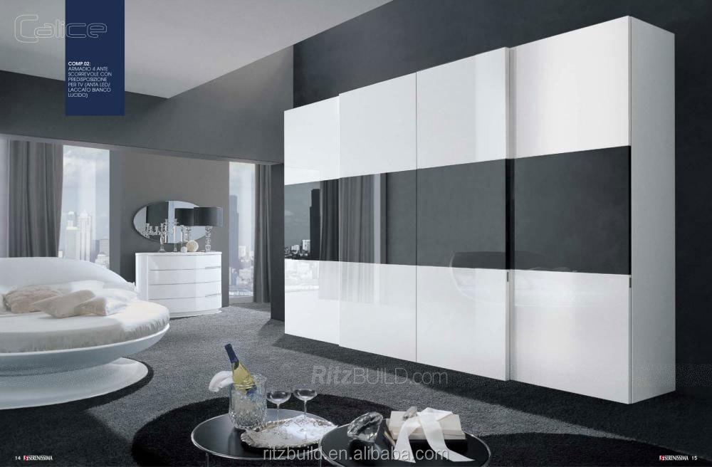 Ritz Mode Noir Et Blanc Laque Porte Placard / Armoire De Chambre ...