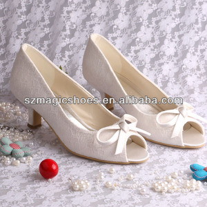 4.5CM Heel Cream Lace Wedding Bridal Shoes Plus Size 42