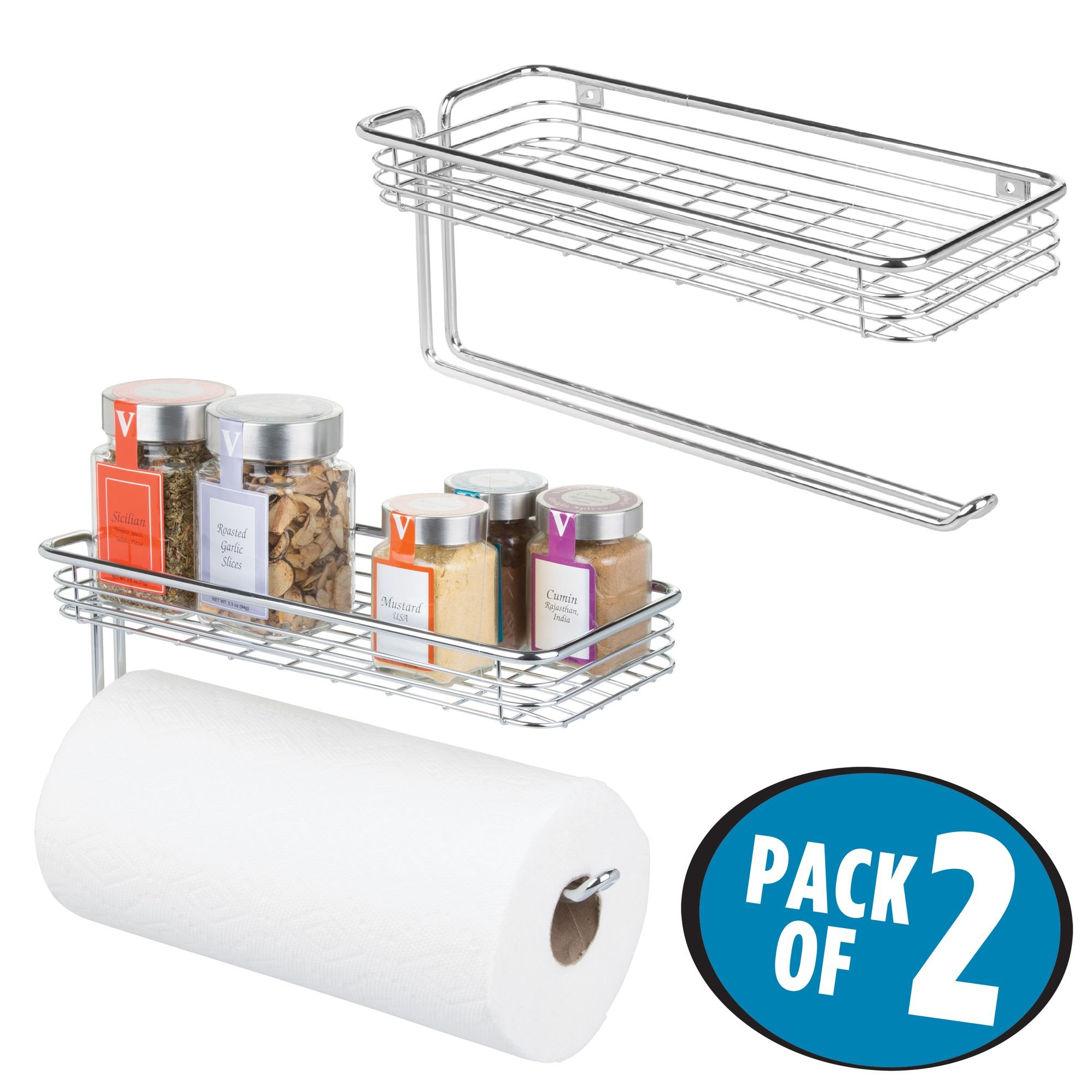 mDesign Paper Towel Holder with Spice Rack and Multi-Purpose Shelf - Wall Mount Storage Organizer for Kitchen, Pantry, Laundry, Garage - Durable Steel Wire Design, Pack of 2, Chrome