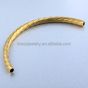 Cheap Price High Quality Hollow Round Brass Carved Curved Jewelry Tube