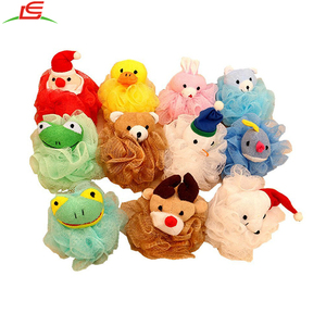 hot selling Kids Toy Pouf Mesh Bath Sponge with Stuffed Animal