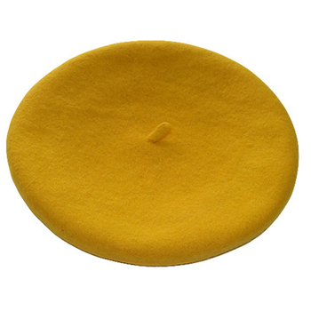 High Quality 100%Wool yellow beret cap
