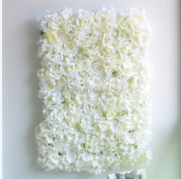 Finished white hydrangea and Rose Flower Wall for Wedding