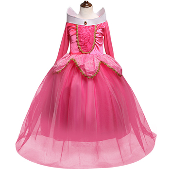 HYA09 Girls Dress Halloween Cosplay Sleeping Beauty Princess Dresses Christmas Costume Party Children Kids Dress