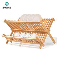 BAMBKIN Bamboo 2-tier folding dish drying rack foldable dish drainer collapsible plate rack for counter top