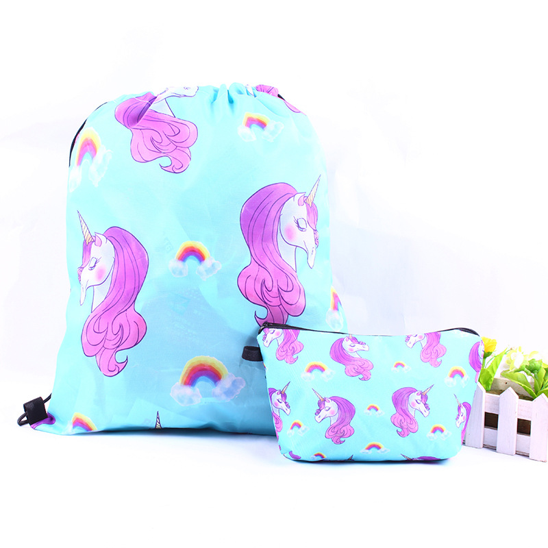 Cute cartoon unicorn optional number of European and American wind printed drawstring backpack