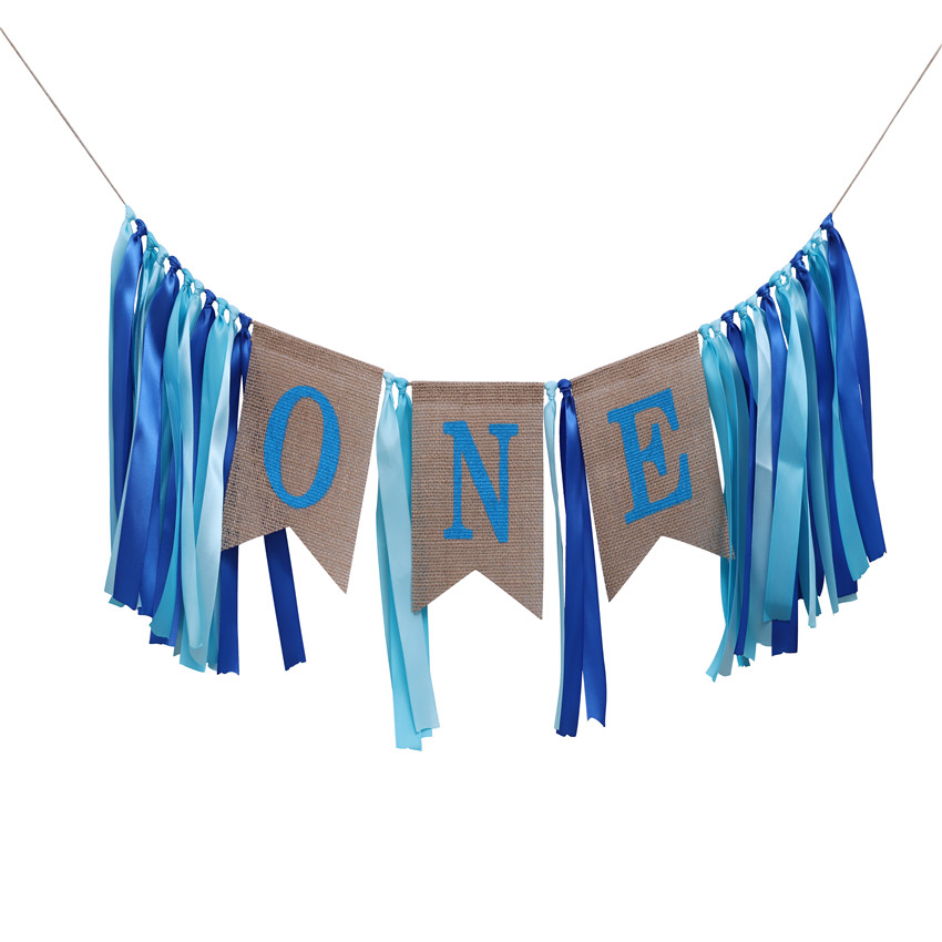 One First Blue Pink white Birthday <strong>Banner</strong> For Baby Shower Decoration Birthday Party Decoration Adult