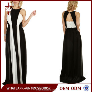 Sheer Chiffon Black and White Contrast Color Plus Size Maxi Dress