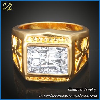 Saudi Gold Jewelry 18k Solid Gold Mens Stone Square Band Ring