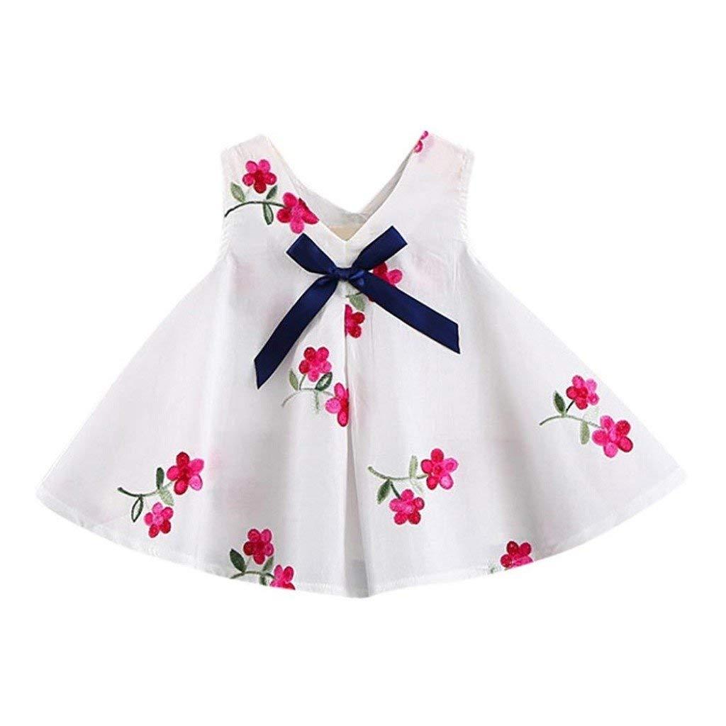Creazrise Baby Sleeveless Bowknot Embroidery Dress,Newborn Girls Floral Print A-Line Dress White(6-24Month)