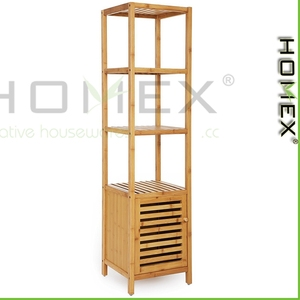 4 Tiers Bamboo Floor Cabinet Storage Tower Multifunctional Shelving Unit Clothes Storage /Homex_BSCI