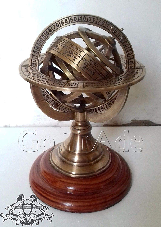 "Shaheera Nautical 5"" Engraved Brass Tabletop Armillary Nautical Sphere Globe Gift A"