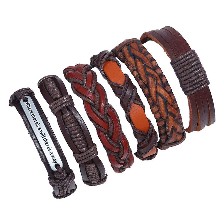 Fashion 6pcs 1 Set Punk Genuine Wrap Leather Bracelets Wrap Plain Leather Bracelets Cuff Jewelry Accessories