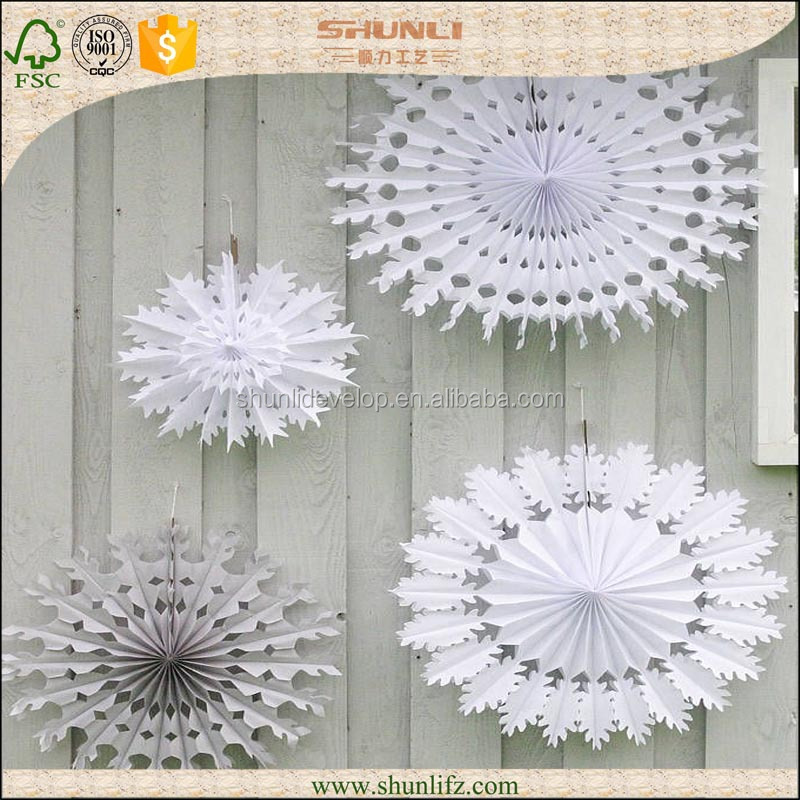 Winter Party Theme Decoration White Hanging Tissue Paper Snowflake