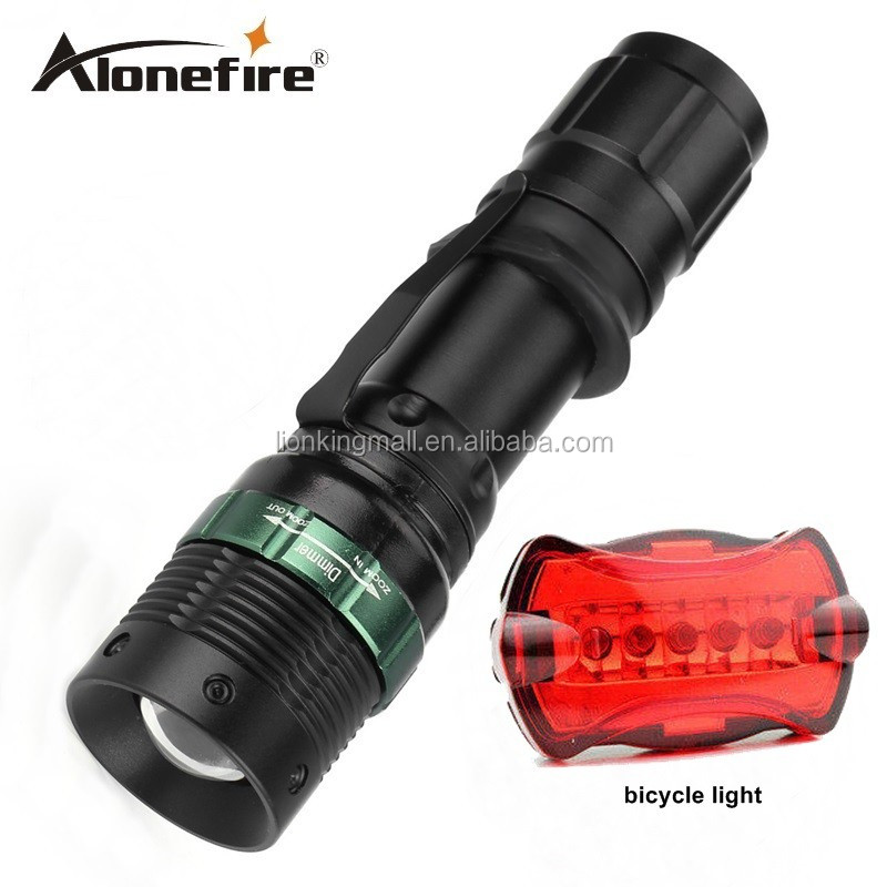 AloneFire E3 Waterproof 2000Lumen torch Tactical Zoom led flashlight Light For 18650 Battery lanternas led+bicycle lights