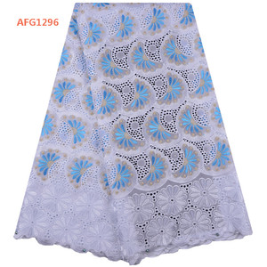 2018 White Color Latest African Cotton Swiss Voile Lace Fabric High Quality African Swiss Voile Lace In Switzerland