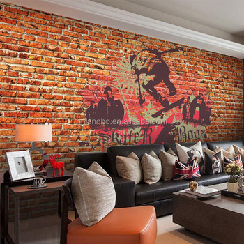 Red Brick Wall Pattern Wallpaper Nostalgic Cafe Snack Mural Street Style Graffiti Art