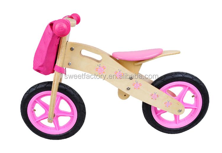 Baby Girls Wooden Balance Bike Walker Wooden Balance Bicycle Toy