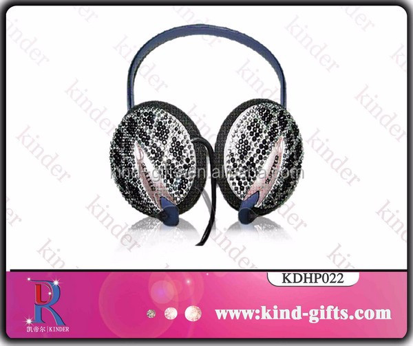 Stylish bling bling crystal jeweled high sale headphones wired headset bluetooth