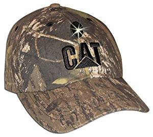 CAT CAT019604 6 panel cap, impact resistant LED with black Cat Logo Hat, Mossy Oak Camo