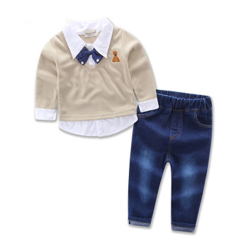 WSG08 2pcs/set kids clothes vest+shirt+pants boys clothing sets winter for party