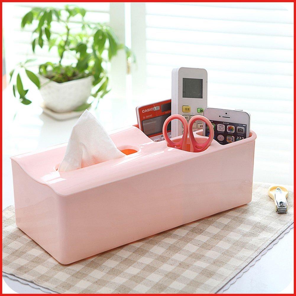 Lovely Multifunction Tissue Boxes Napkin Holder Rectangle Plastic funny Tissue Box Cover (Pink)