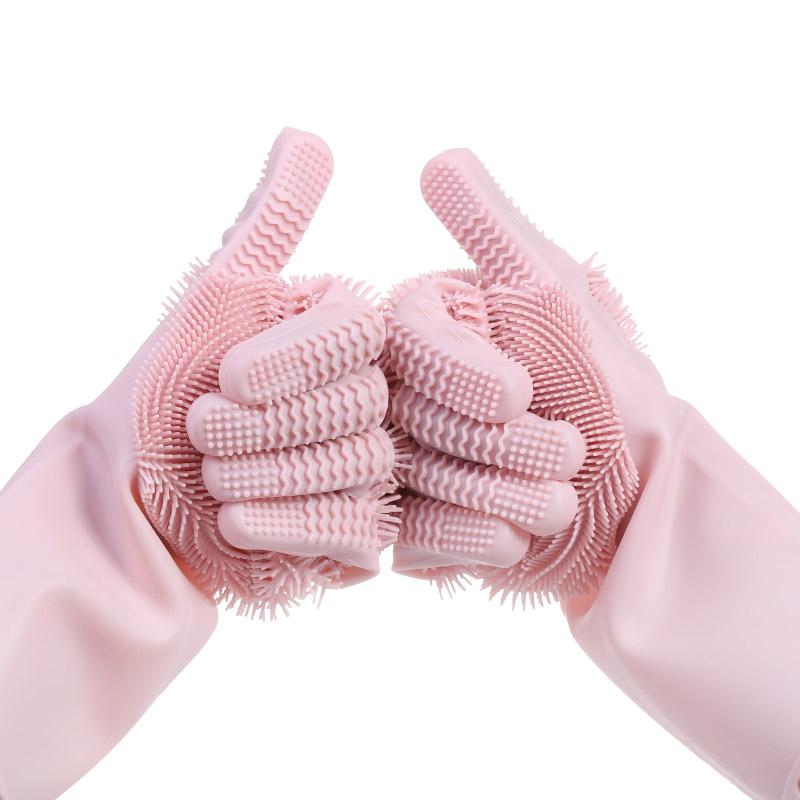 Geschirr Peeling Handschuhe, Nicht Slip Mikrofaser Eco Silikon Reinigung Dish Waschen Handschuhe