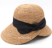 Wholesale Custom Lady Raffia floppy Straw Hat Summer Beach Sun Hats For Women