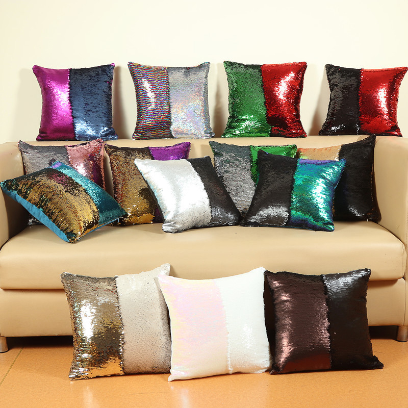 2017 Hot DIY two tone glitter sequins decorative pillows, home decor mermaid sequin pillow, mermaid sequin pillow