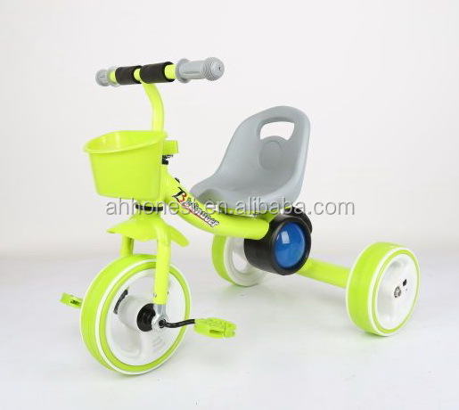 hot selling steel frame cheap baby tricycle with light, baby tricycle with LED lights on wheels wholesale---HN-705