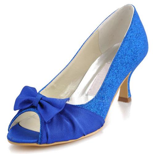 Fashion Royal Blue Satin + Glitter Women's Bridal Shoes