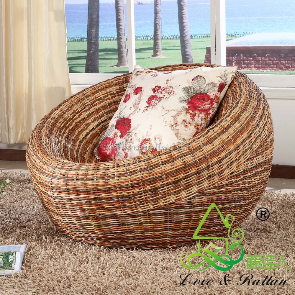 Wicker Living Room Furniture Water Hyacinth Natural Rattan Living Room Large Leisure Lounge