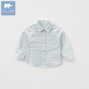 DB5395 dave bella autumn baby boys handsome shirt boys cotton tee baby boutique shirts children high quality top