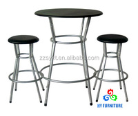 Wooden round bar height table and stool sets wholesale
