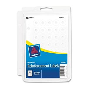 Wholesale CASE of 25 - Avery Self-adhesive Reinforcement Ring Labels-Reinforcement Labels, Permanent, 160/PK, White