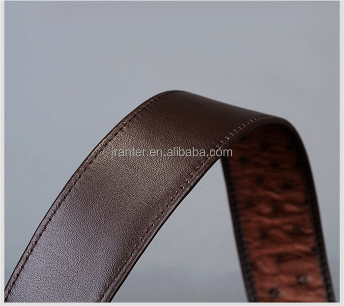 Custom Logo Genuine Ostrich Leather Belts For Men With Stainless Steel Buckle