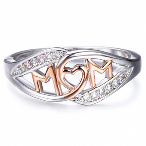 Wholesale Fashion Jewelry Mothers day Gift Silver Gold Heart Shaped MOM Rings