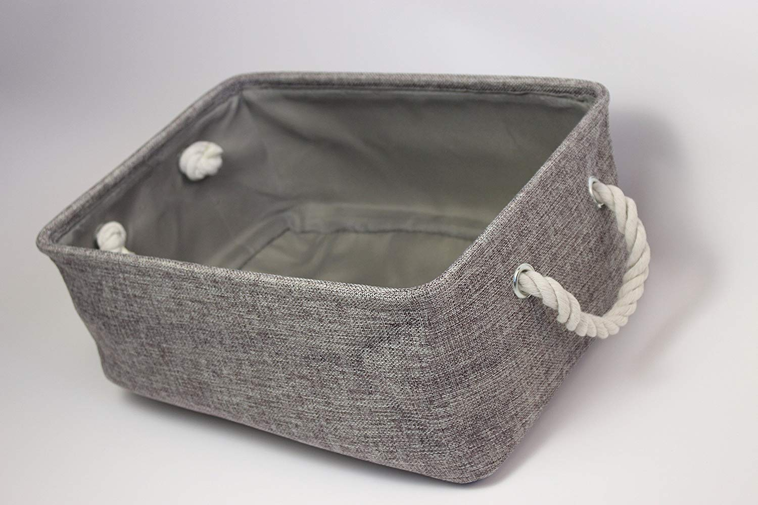 Foldable Storage Baskets Canvas Storage Basket With Handles, For Home Office Storage Bins (Gray)(L×W×H:36×27×17cm) (Large)