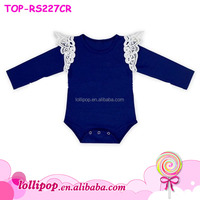 Flutter Sleeve Romper Baby Girls White Lace Angel Wing Royal Blue Long Sleeve Onesie Jumpsuit Baby Clothes Romper Newborn