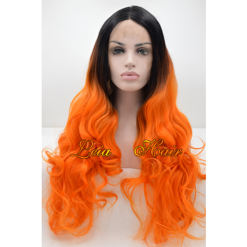 Wavy Ombre Wig Black To Orange Lace Front Long Wig Synthetic Hair Heat Resistant Kanekalon Glueless Lace Ombre Wigs For Women