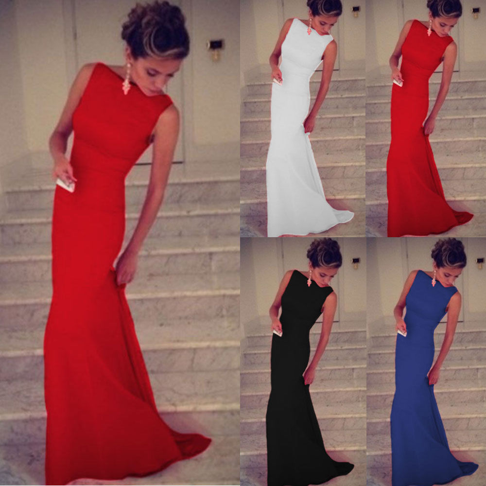 Sexy Women Prom Ball Cocktail Party Dress Formal Evening Gown Long Sleeveless