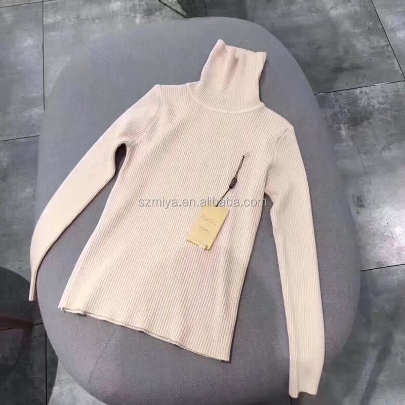 Autumn and Winter Strong elastic long sleeve fitted knitwear pullover turtleneck woman sweater