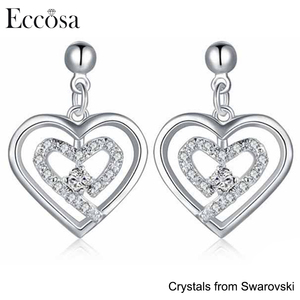 Eccosa 925 Sterling Silver bijoux fashion stud earring with crystals from swarovski jewelry for forever love
