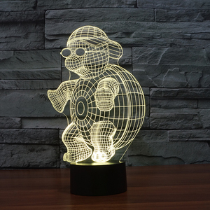 Turtle illusion lamps with custom cute cartoon animal 3d led night light