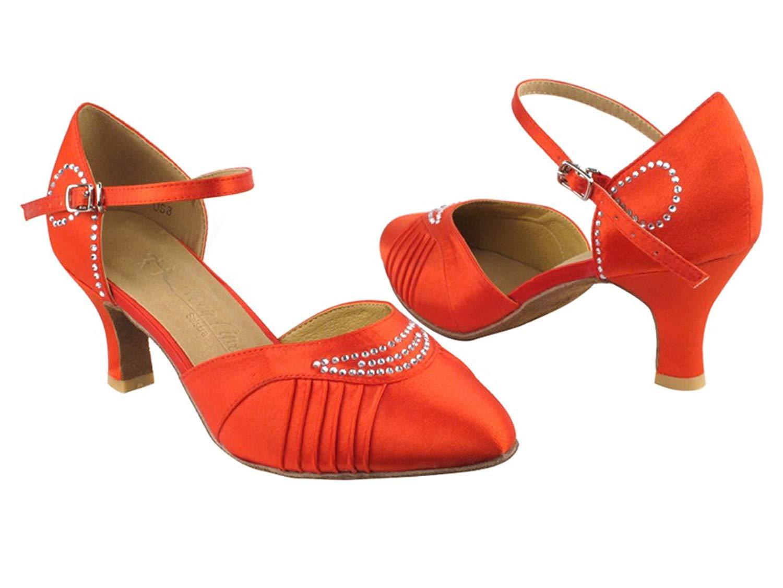 "Very Fine Shoes Ladies' Standard & Smooth Salsera Series SERA1397 2.5"" Heel (4 Colors: Black Satin, White Satin, Tan Satin, Red Satin) (4.5, Red Satin)"