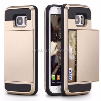 For Samsung Galaxy S7 S6 Edge S8 Plus S5 S4 S3 A5 A7 J5 J7 2016 Grand Core Prime Hard Phone Case Cover With Slide Card Slot