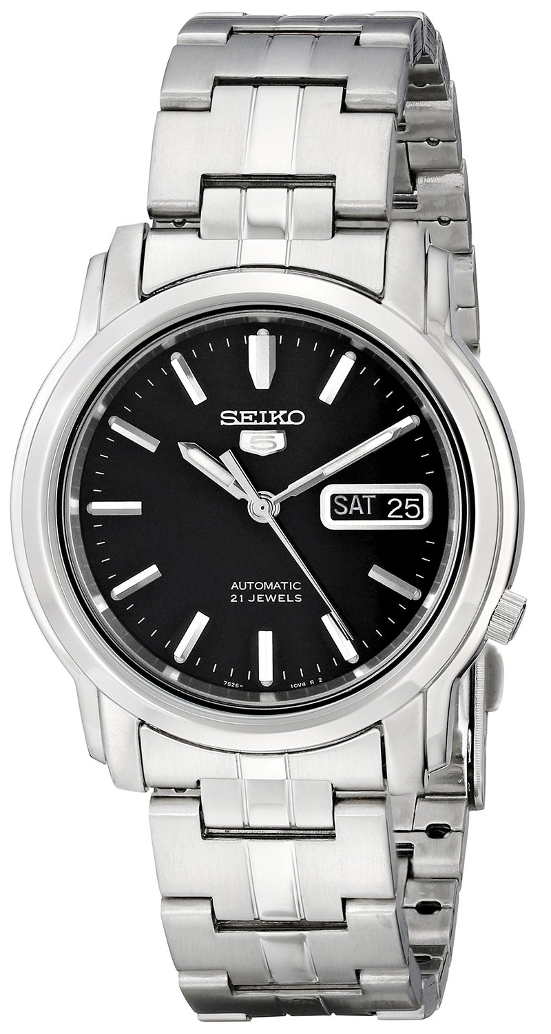 Seiko Men's SNKK71 Seiko 5 Automatic Stainless Steel Watch with Black Dial