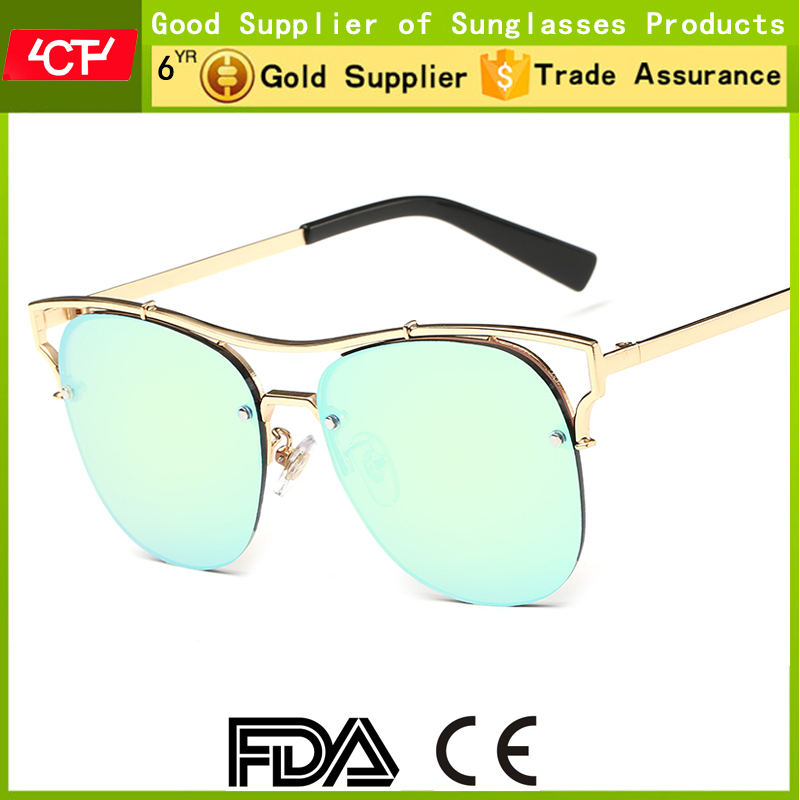 2016 hot sale colourful UV400 lenses own brand wholesale rimless metal sunglasses for women