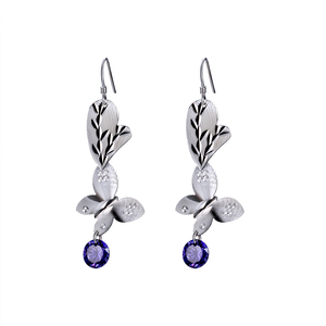 Factory Wholesale New Style Dendritic 925 Sterling Silver Jewelry Fashion Women Sliver Earring